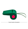 Red disc on green color of afghanistan whistle vector
