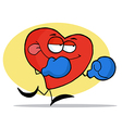 Boxing red heart character wearing blue gloves vector