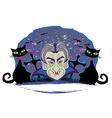 Cartoon count dracula grunge halloween frame vector