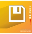 Floppy disk flat modern web button with long vector