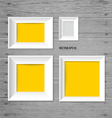 White modern frames on the wood wall vector