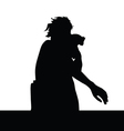 Girl and parrot silhouette vector