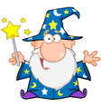 Funny wizard waving with magic wand vector