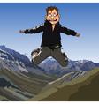 Cartoon frightened man jumping vector