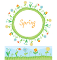 Spring flowers frame and border vector