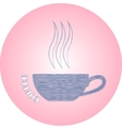Hand drawn logo coffee cup on pink background vector