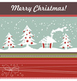 Cartoon christmas card with xmas tree vector
