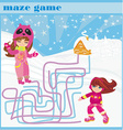 Maze game - fun in the winter day vector