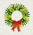 Diversity green hands christmas wreath vector