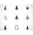 Black christmas tree icons set vector