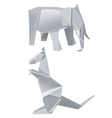 Paper elephant kangaroo vector