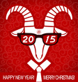 New year red card with goat and glasses business vector