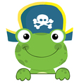 Frog with pirate hat over a sign board vector