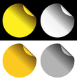 Golden and silver stickers on white and black vector