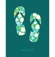 Emerald flowerals flip flops silhouettes vector