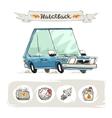Retro small hatchback set vector