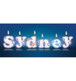 Sydney written with burning candles vector