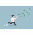 Businessman chasing falling dollar bills vector