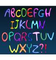 Colorful spaghetti alphabet vector