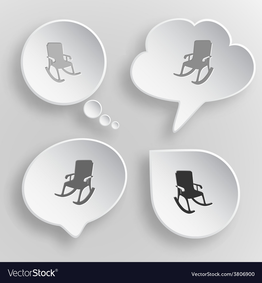 Armchair white flat buttons on gray background vector | Price: 1 Credit (USD $1)