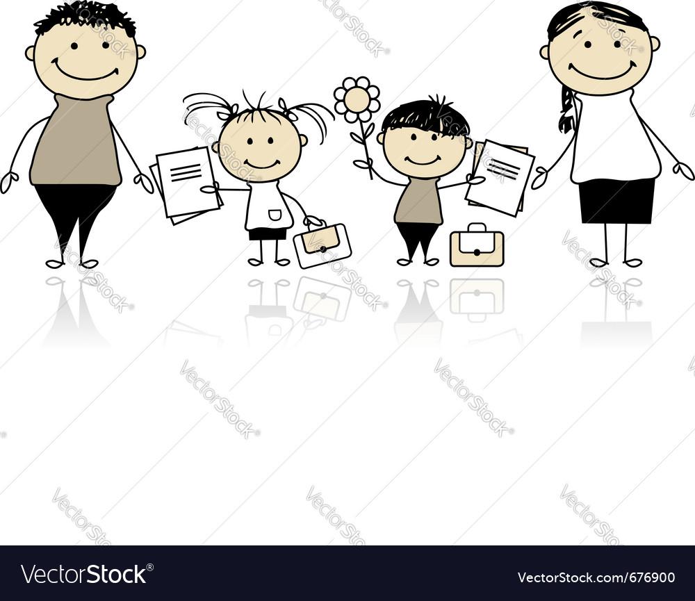 Back to school children vector   Price: 1 Credit (USD $1)