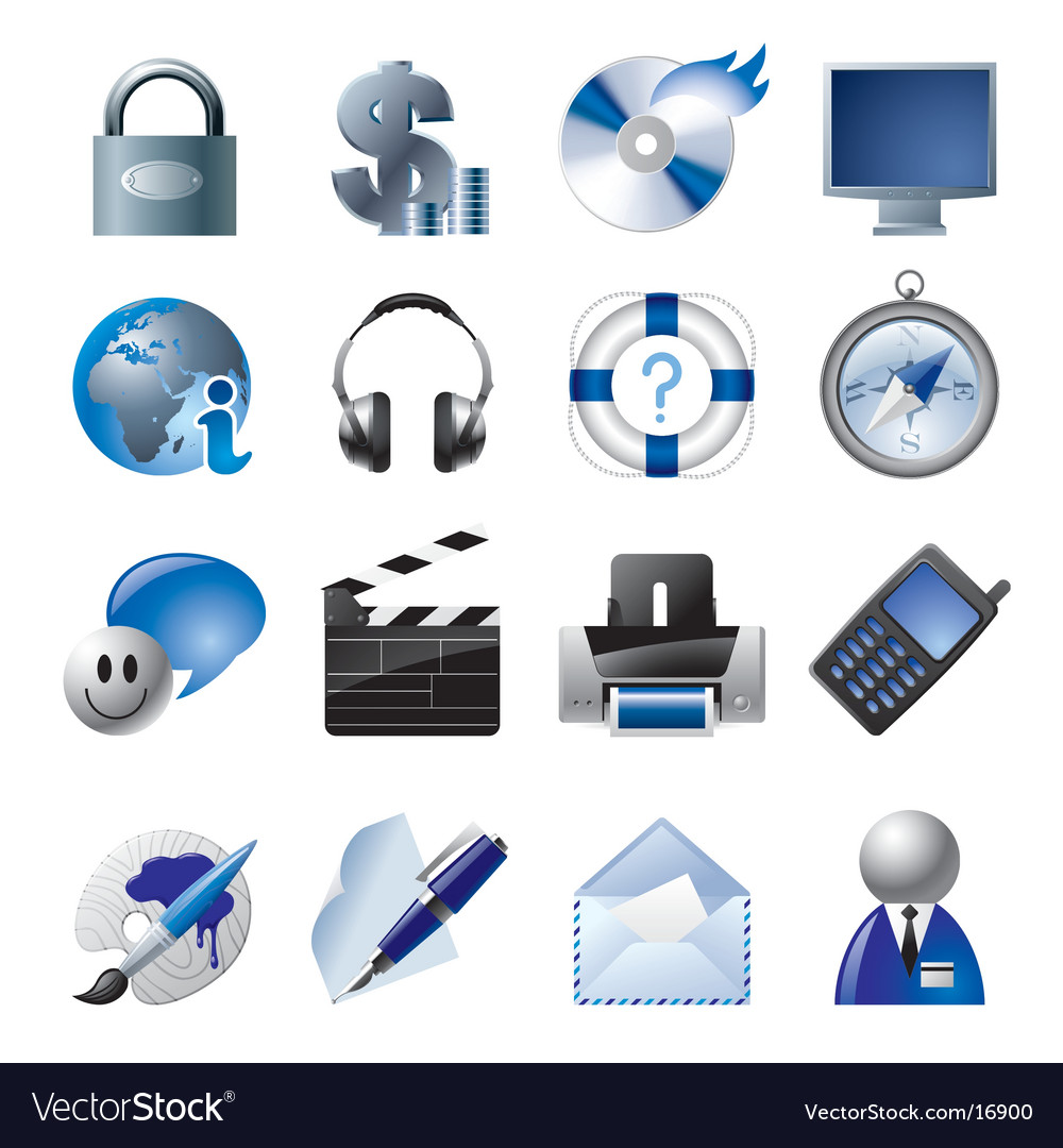 Blue website and internet icons vector