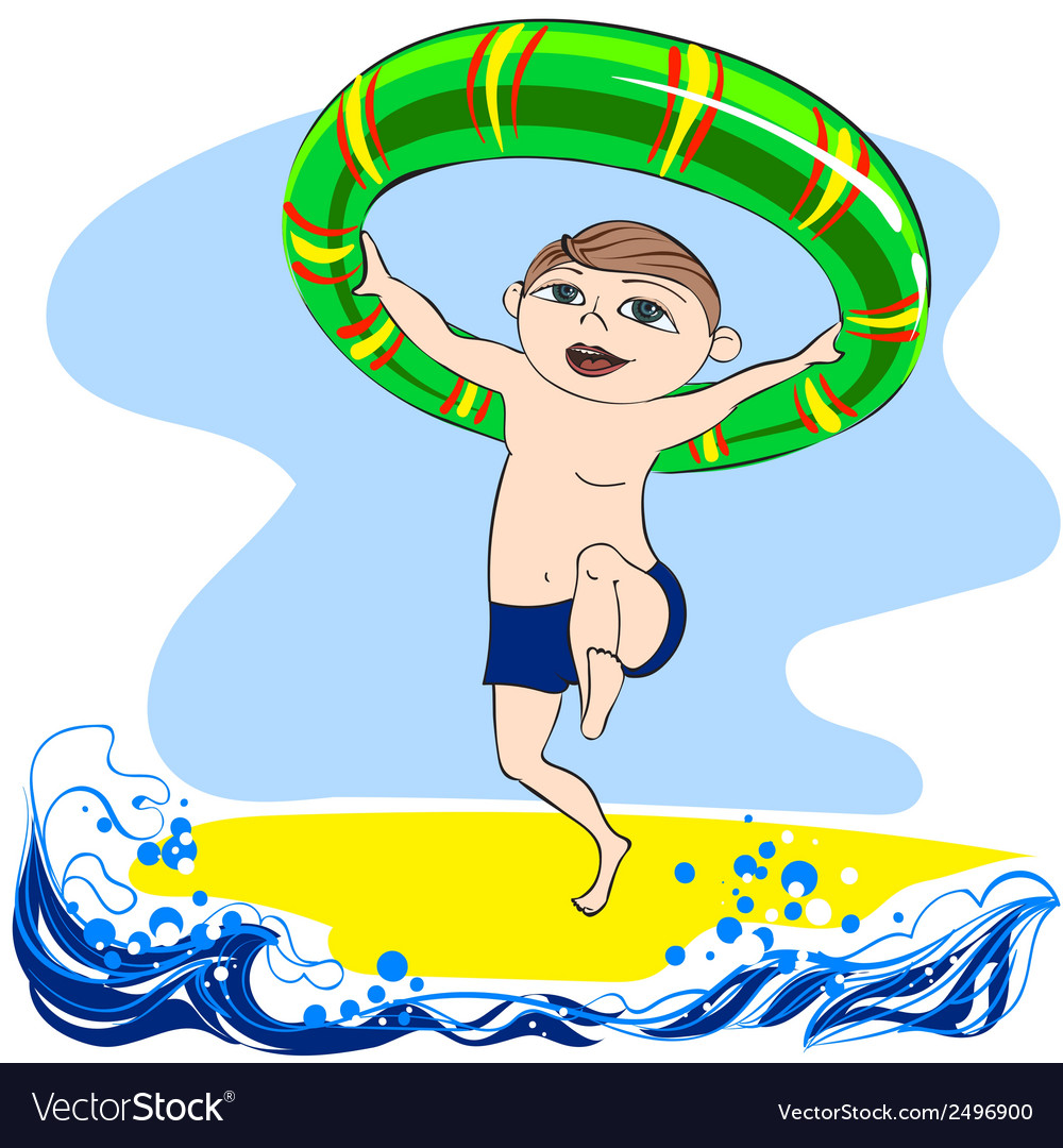 Boy with rubber ring vector | Price: 1 Credit (USD $1)