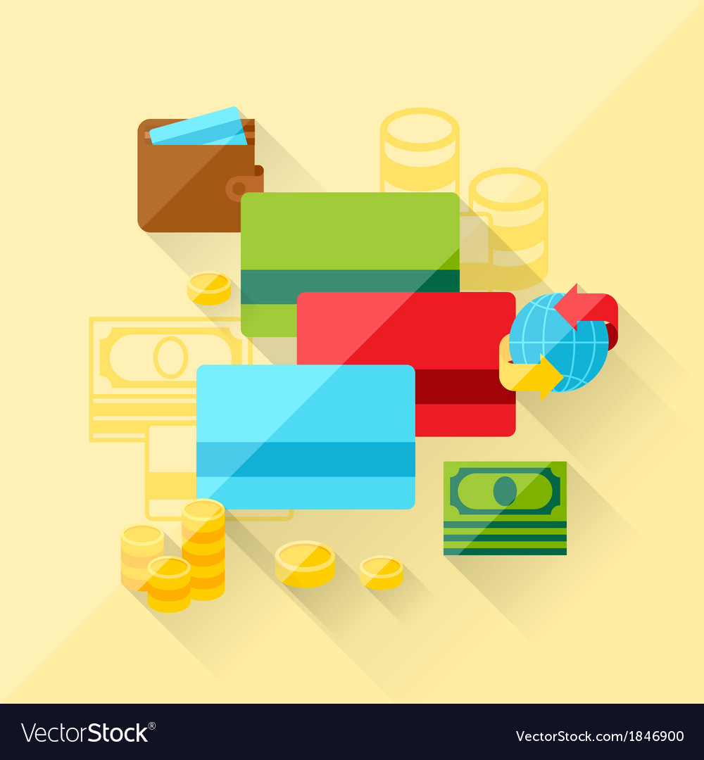 Concept of bank cards in flat design style vector | Price: 1 Credit (USD $1)