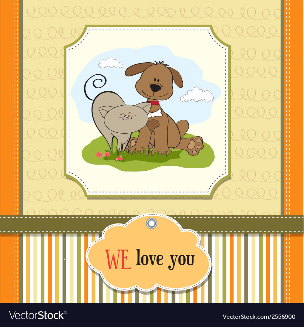 Dog cats friendship vector   Price: 1 Credit (USD $1)