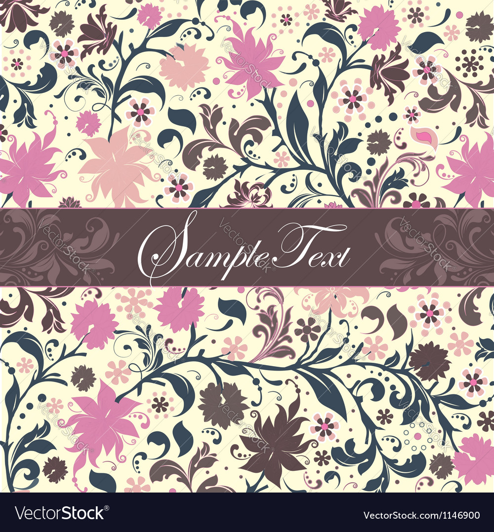 Invitation card with purple flowers vector | Price: 1 Credit (USD $1)
