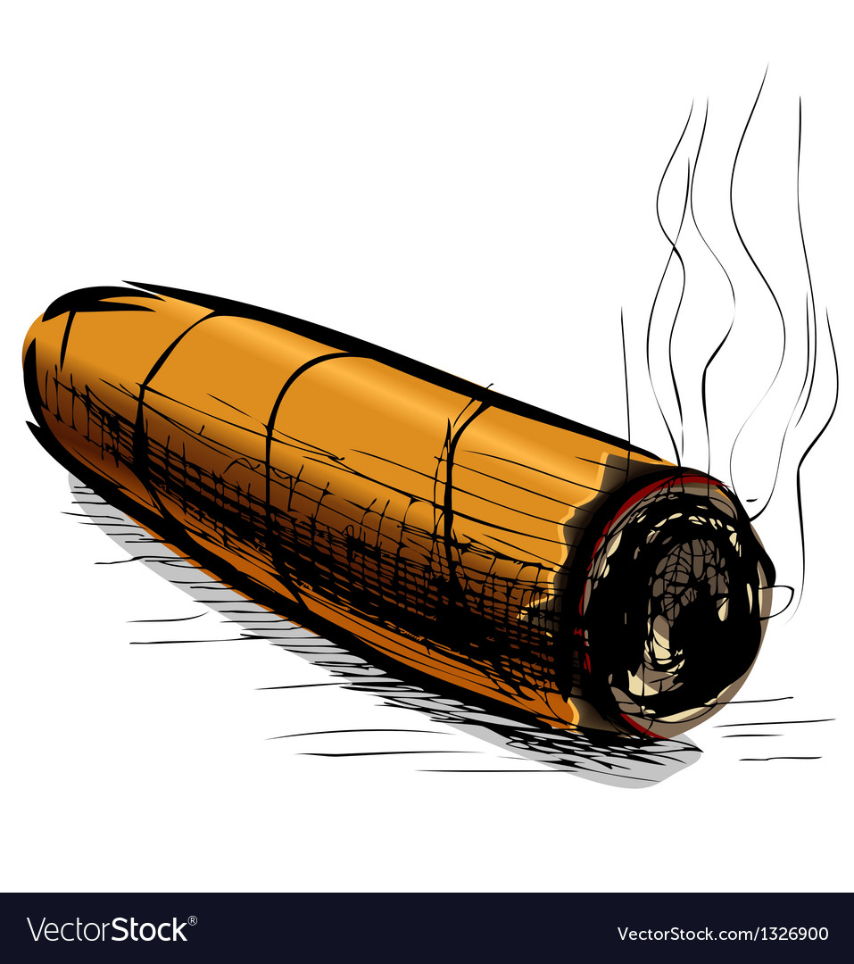 Lighting cigar sketch vector | Price: 1 Credit (USD $1)