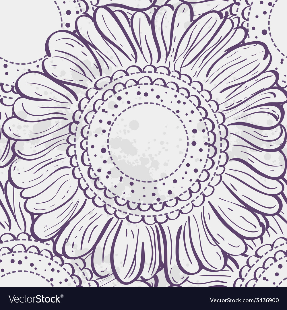 Seamless texture stylized sunflowers purple vector | Price: 1 Credit (USD $1)