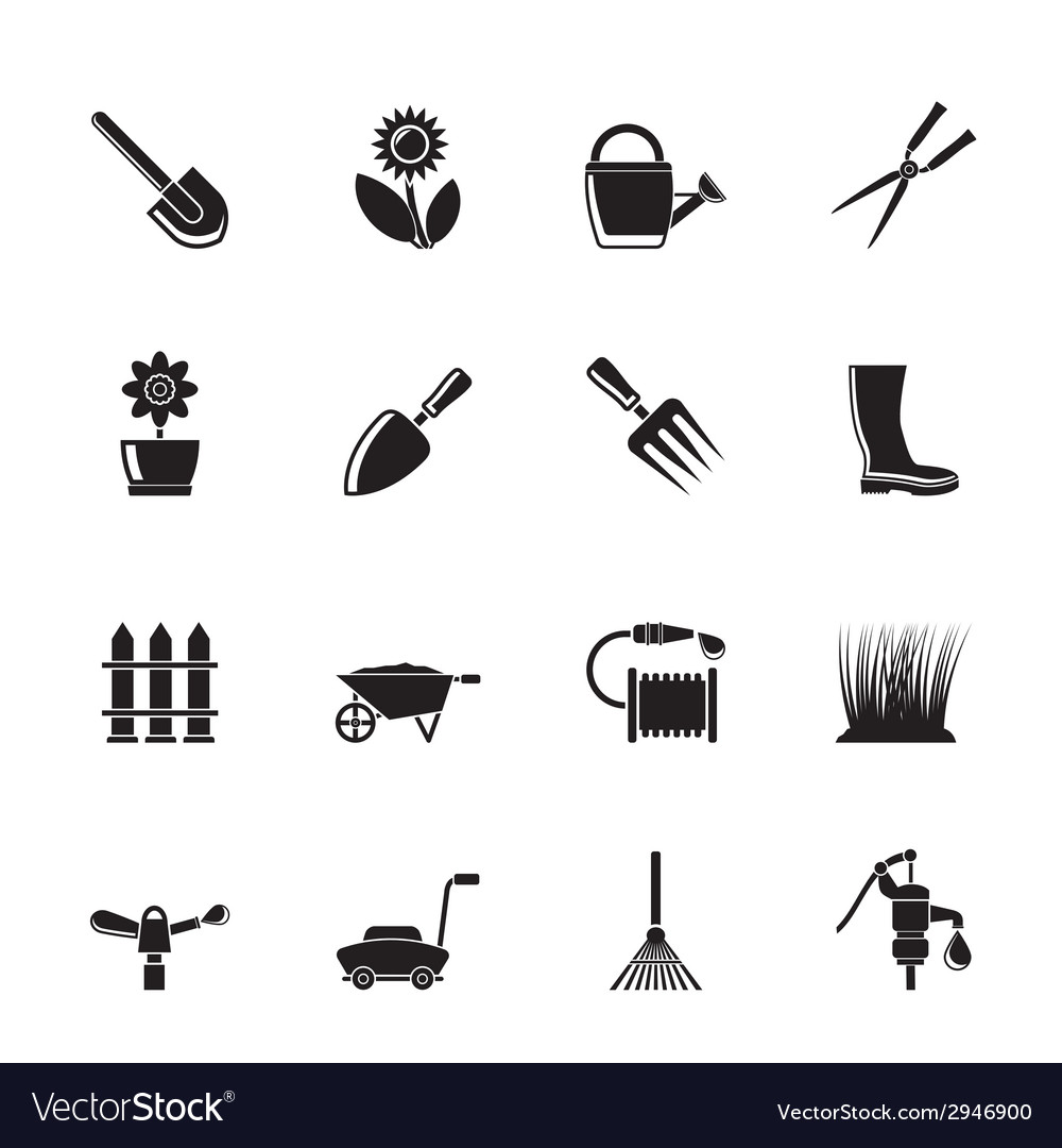 Silhouette garden and gardening tools and objects vector | Price: 1 Credit (USD $1)