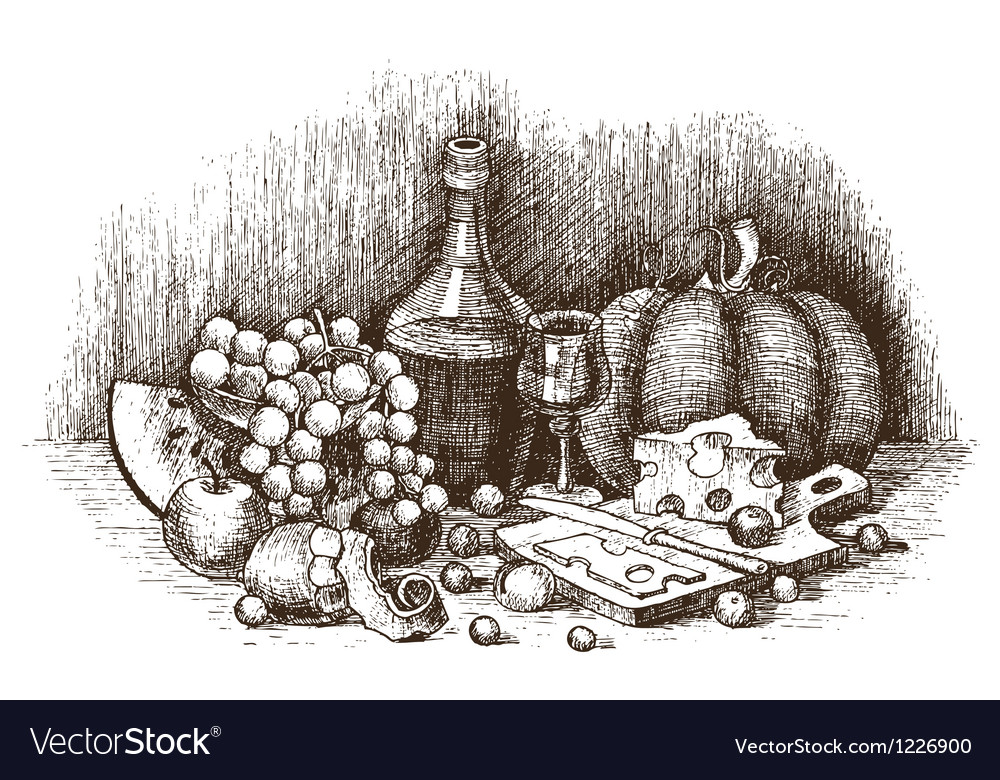 Still life with fruit cheese and wine drawing by vector | Price: 1 Credit (USD $1)