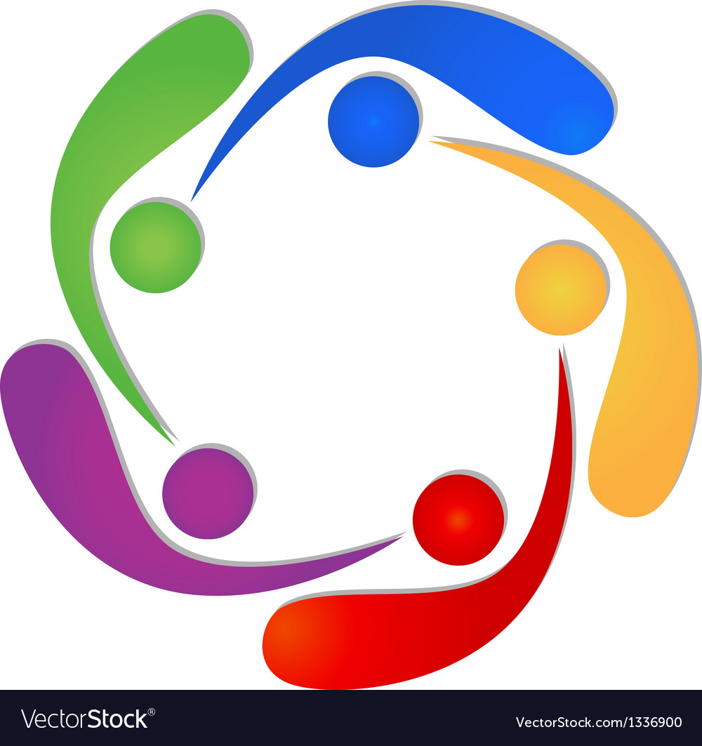 Teamwork 5 swooshes people logo vector