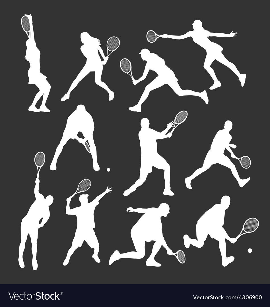 Tennis player silhouettes vector