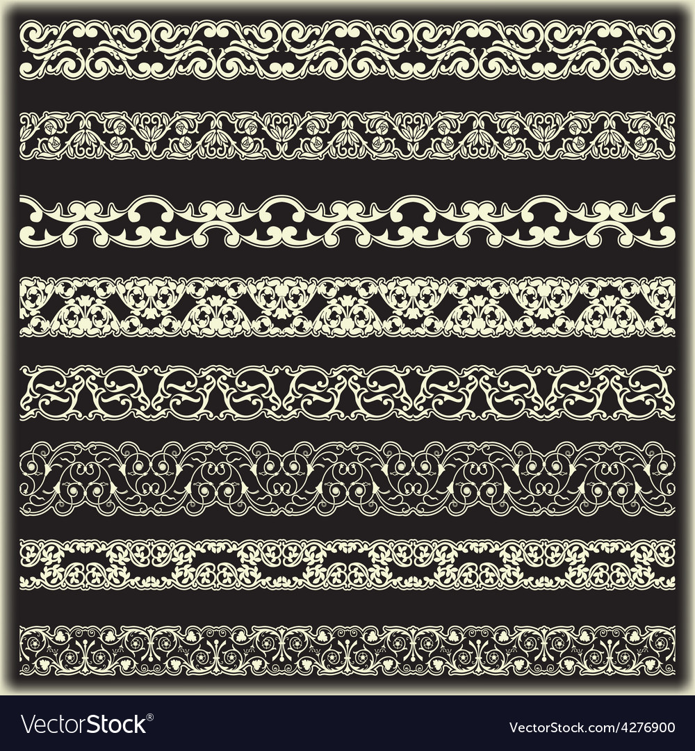 Vintage border set for design vector | Price: 1 Credit (USD $1)