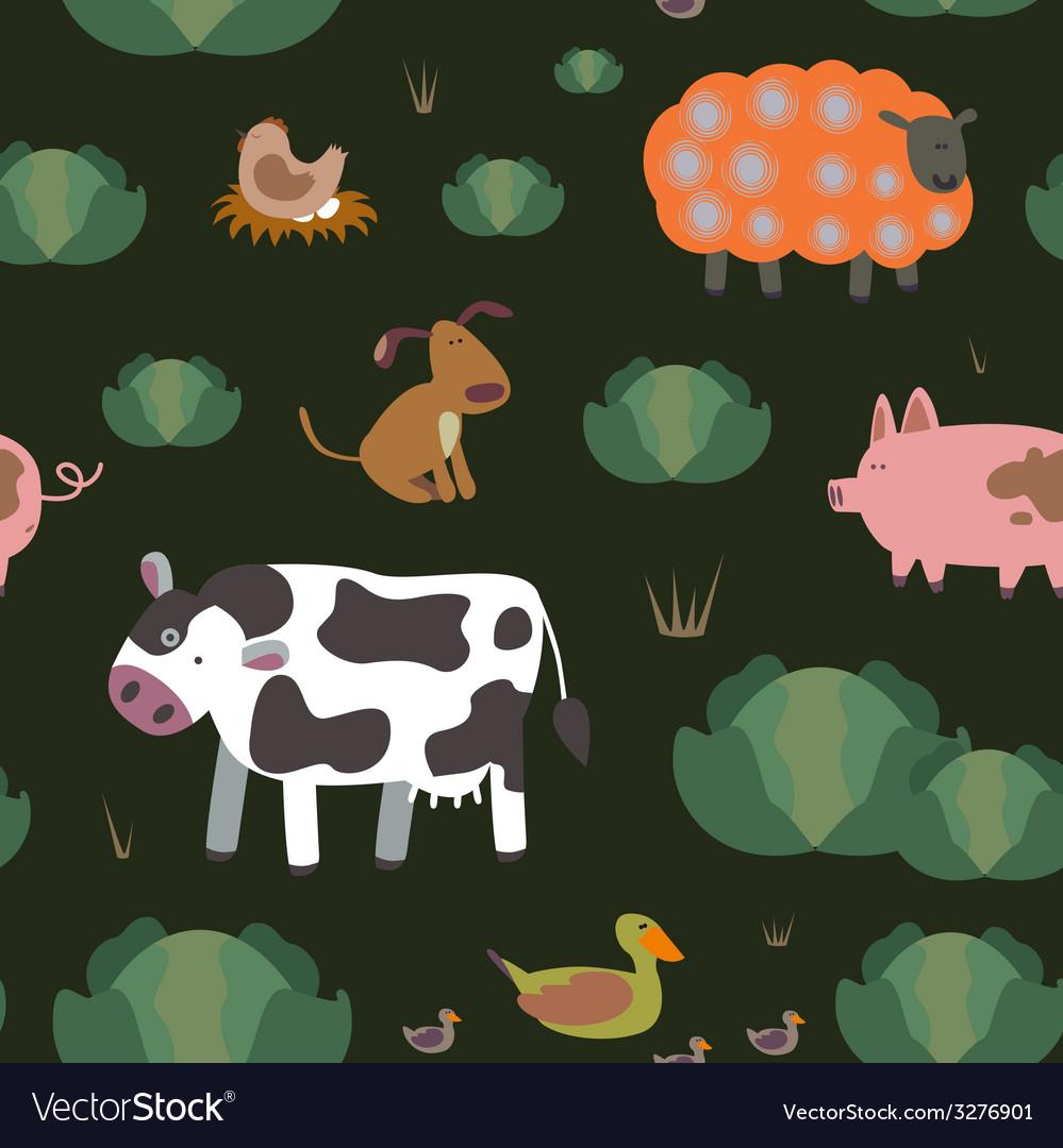 Farm animals seamless pattern vector | Price: 1 Credit (USD $1)