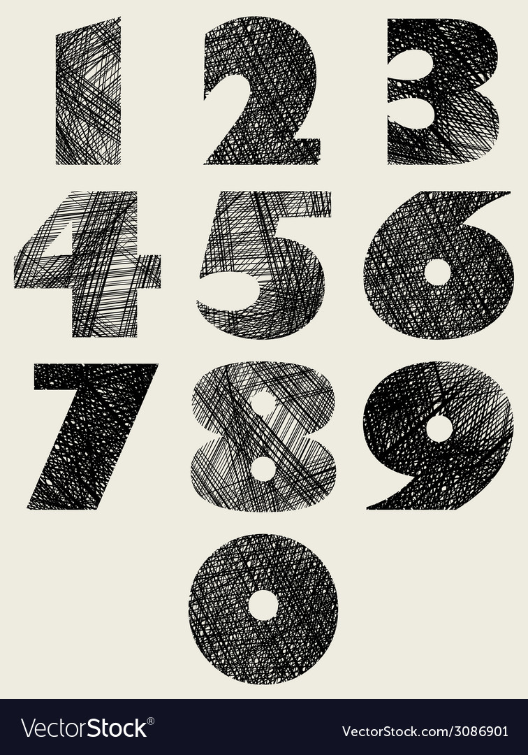 Hand drawn and sketched bold numbers set vector | Price: 1 Credit (USD $1)