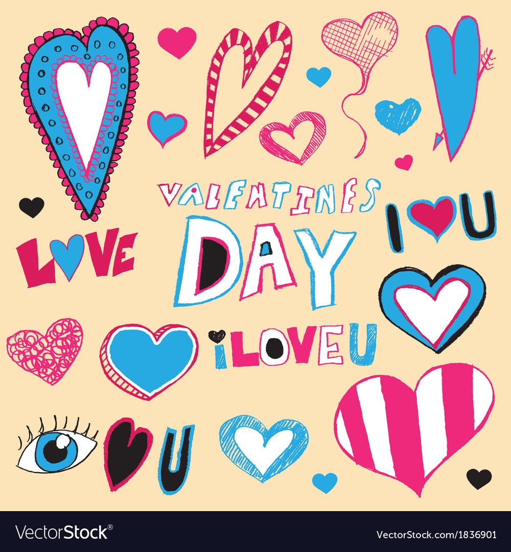 Hand drawn valentines day art vector | Price: 1 Credit (USD $1)
