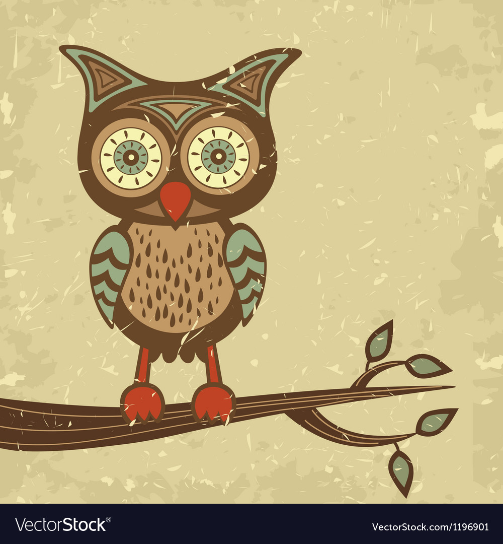 Retro style owl vector | Price: 1 Credit (USD $1)