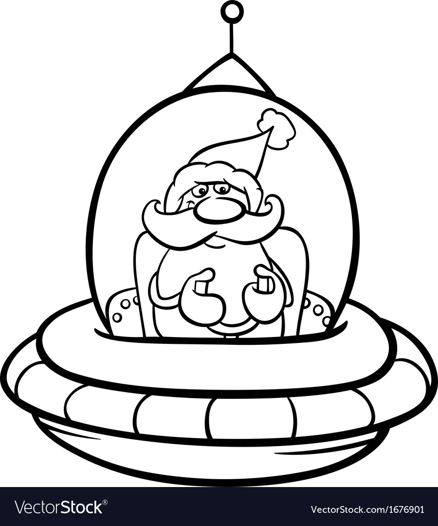 Santa in spaceship coloring page vector | Price: 1 Credit (USD $1)