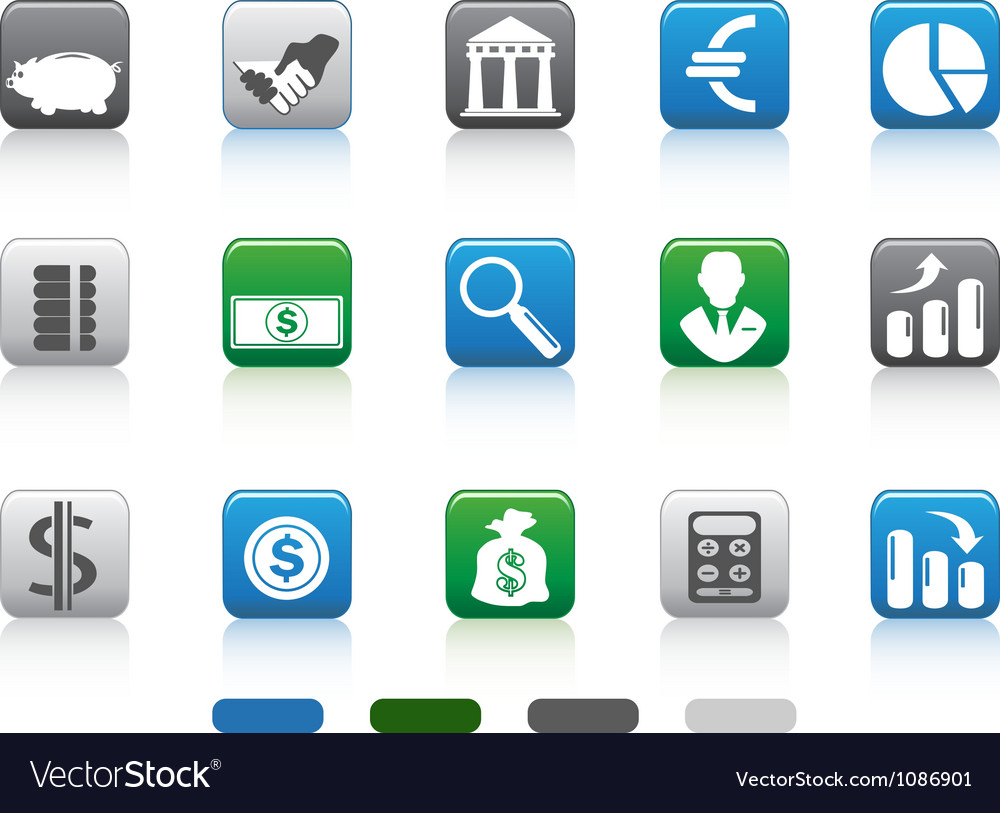 Square button of simple finance and banking icons vector   Price: 1 Credit (USD $1)