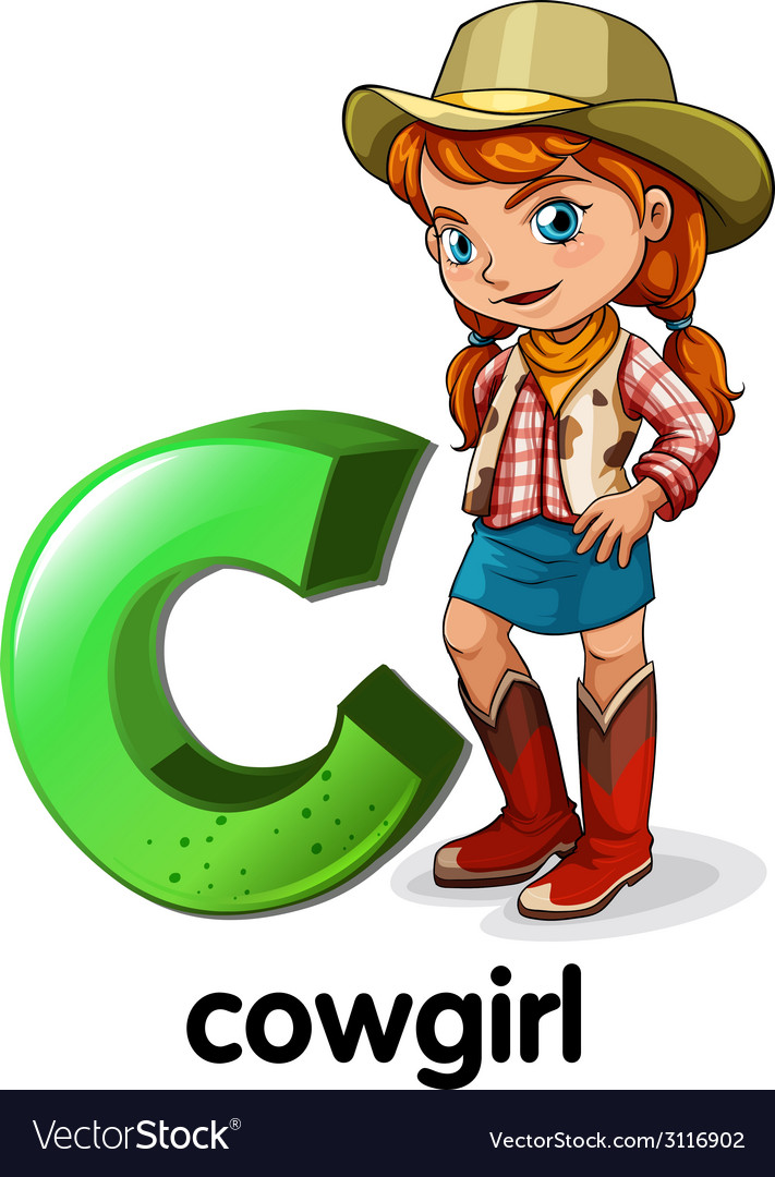 A letter c for cowgirl vector | Price: 1 Credit (USD $1)