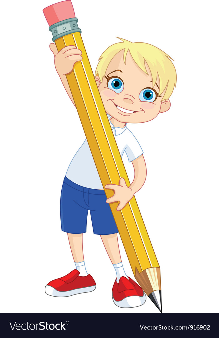 Boy holding pencil vector | Price: 1 Credit (USD $1)