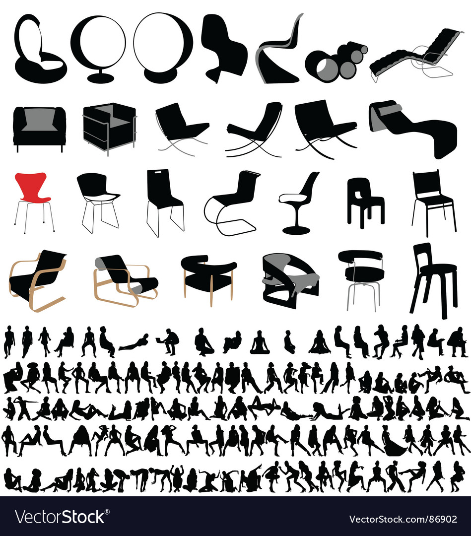 Chairs and people collection vector | Price: 1 Credit (USD $1)