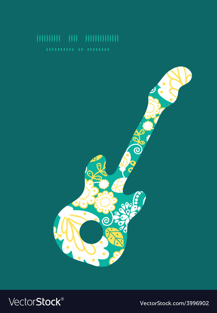Emerald flowerals guitar music silhouette vector | Price: 1 Credit (USD $1)