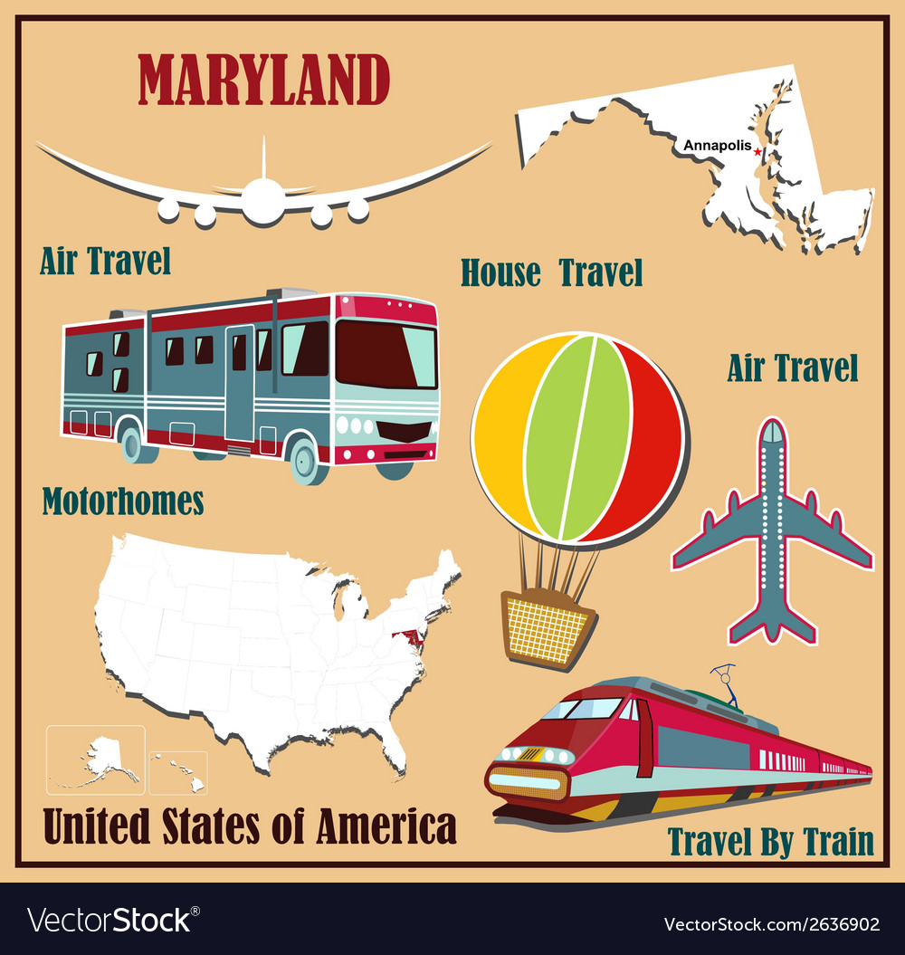 Flat map of maryland vector | Price: 1 Credit (USD $1)