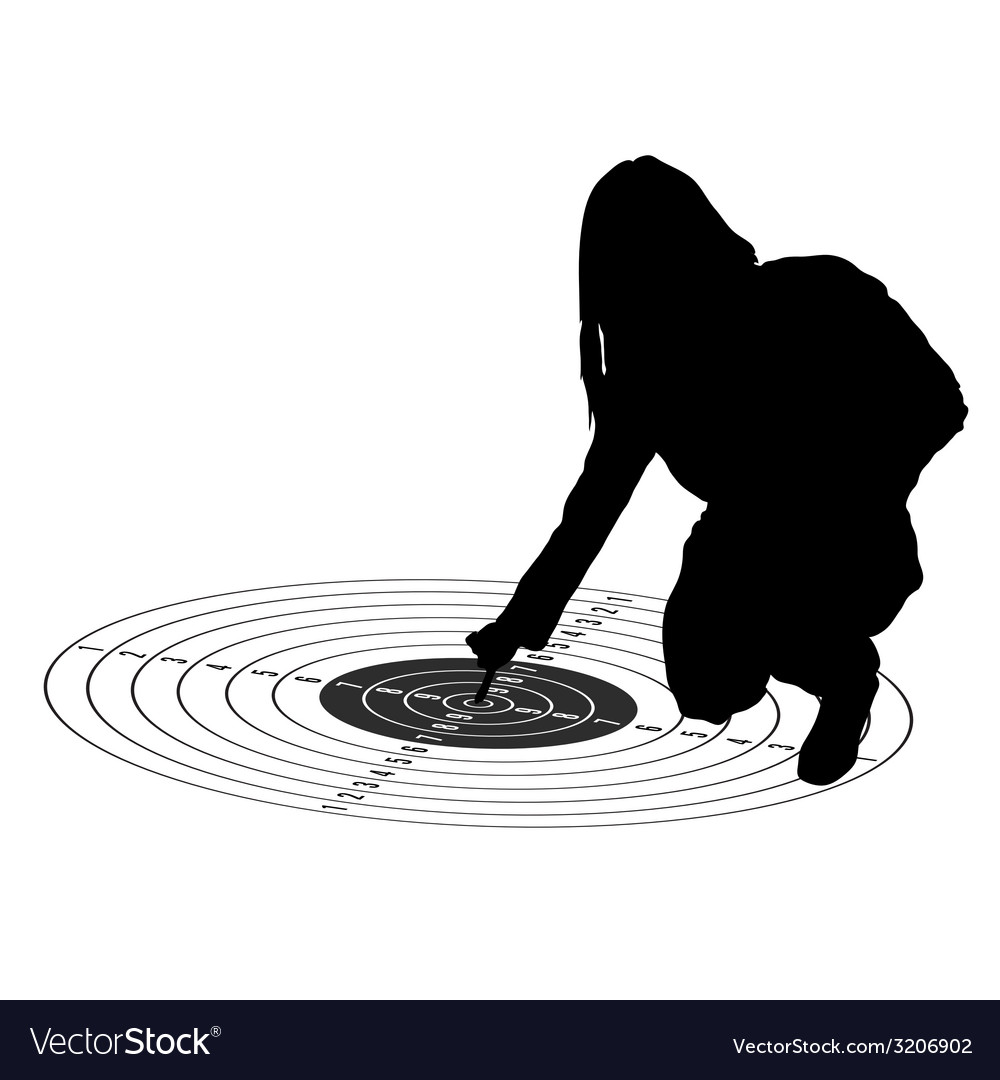 Girl show center on target black silhouette vector   Price: 1 Credit (USD $1)