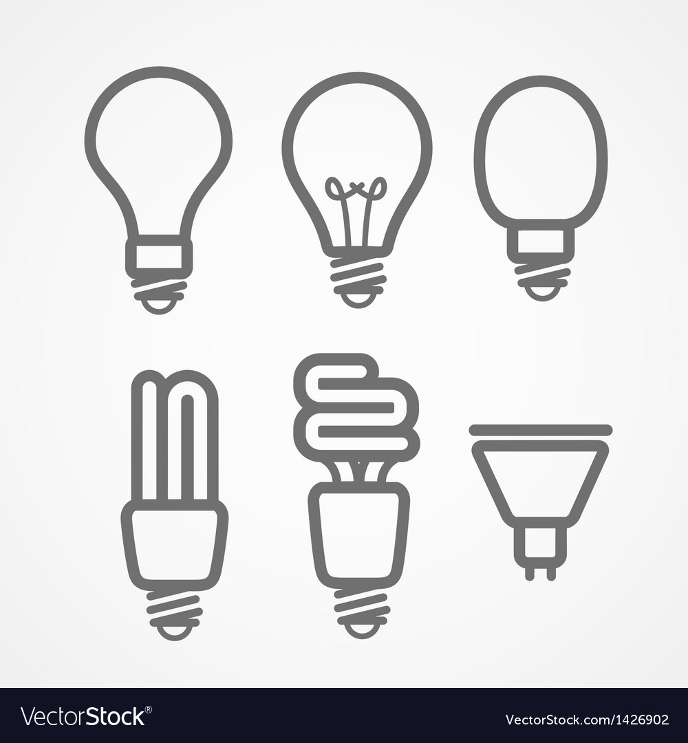 Light lamps icon collection vector